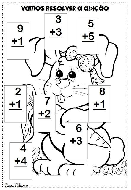 Atividades de matemática prontas para imprimir para trabalhar adição com a temática Páscoa.