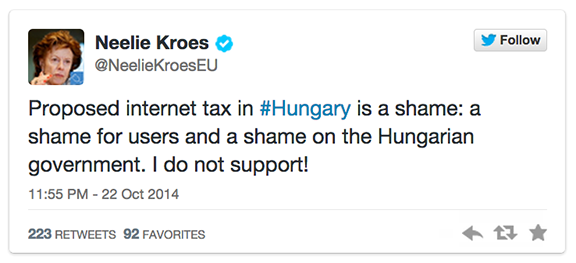 Neelie Kroes        ✔ @NeelieKroesEU Follow Proposed internet tax in #Hungary is a shame: a shame for users and a shame on the Hungarian government. I do not support! 11:55 PM - 22 Oct 2014