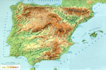 Mapa físico de la península Ibérica