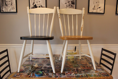 Two-toned farmhouse chairs DIY polyshades and chalk paint