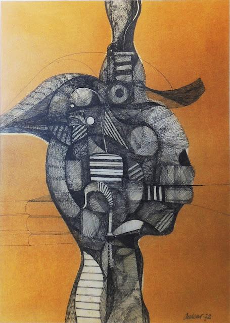 Antonio Andivero dibujo a tinta figurativo cabeza
