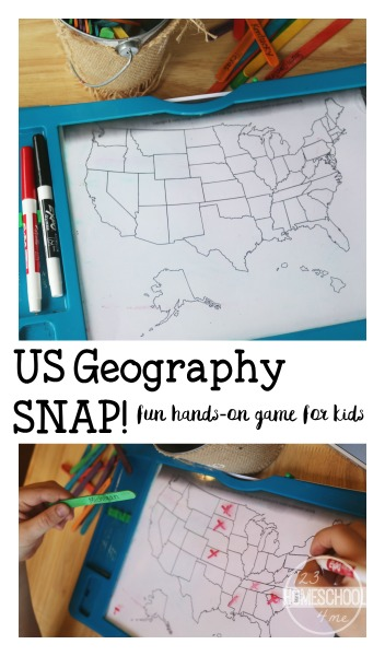 Looking for a fun way to work on geography skills?  Here's an easy game to play that will help your children review the names and location of each of the 50 states.