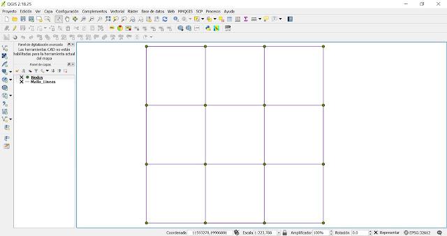 Dibujar cuadricula y extraer vértices en qgis