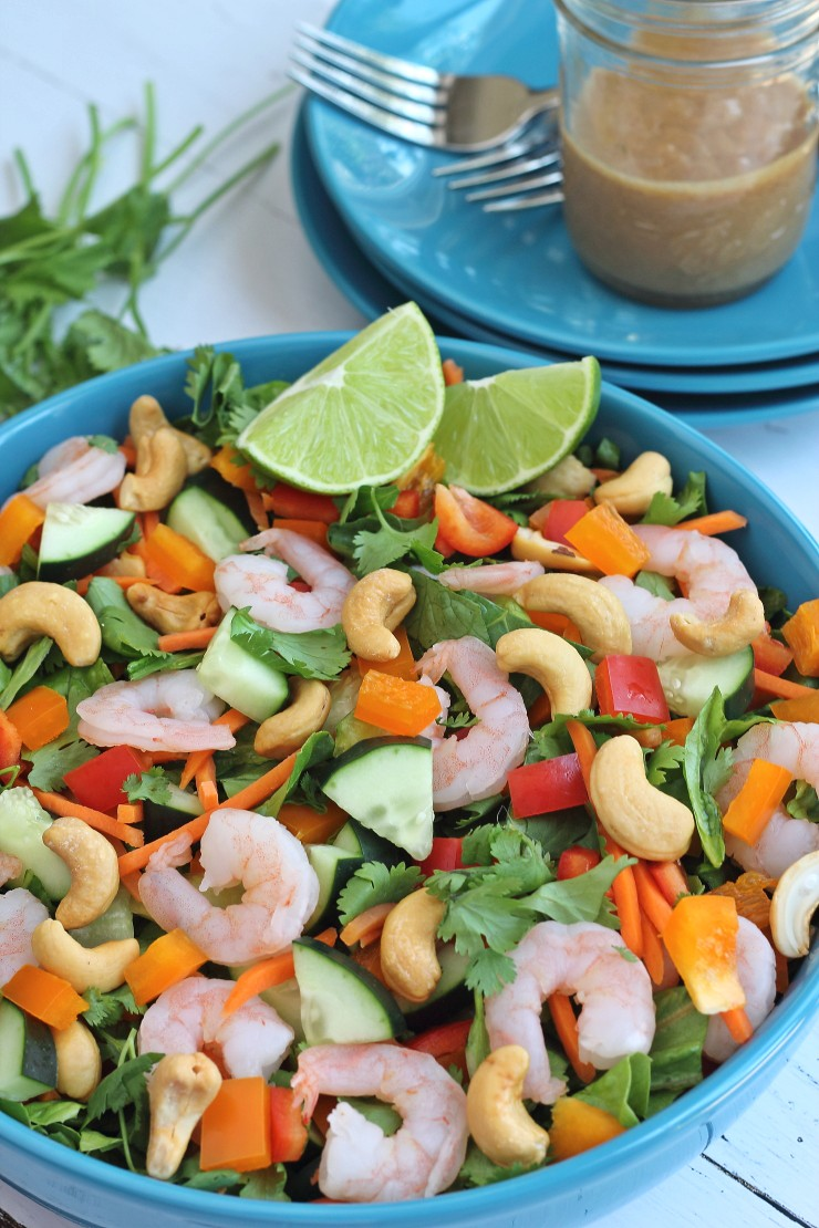 Thai Shrimp Salad With Almond Dressing Whole30 Lunch Recipe