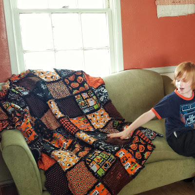 orange and black halloween rag quilt, handmade autumn blanket by refabulous