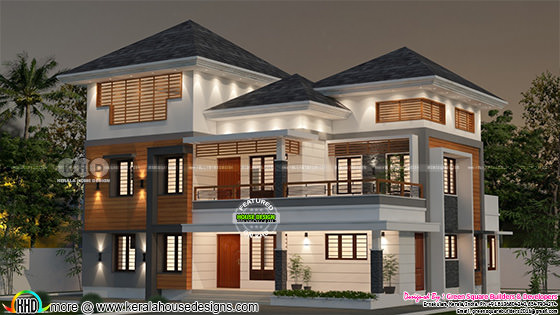 Night view rendering of 4 bedroom house in 2532 square feet