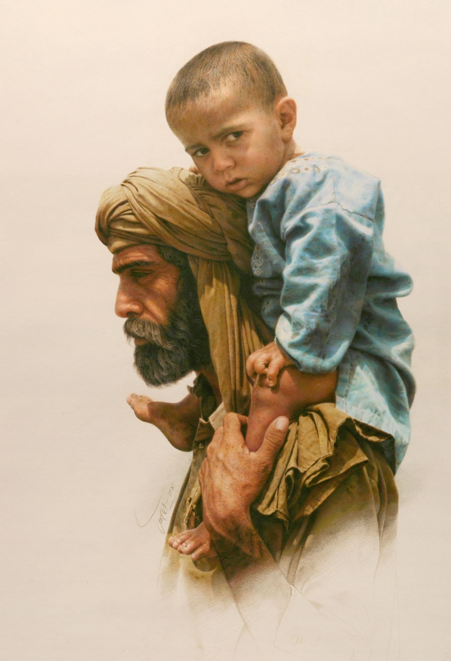 11-Emigrant-Iman-Maleki-Realistic-Paintings-that-Portray-Intense-Expressions-www-designstack-co