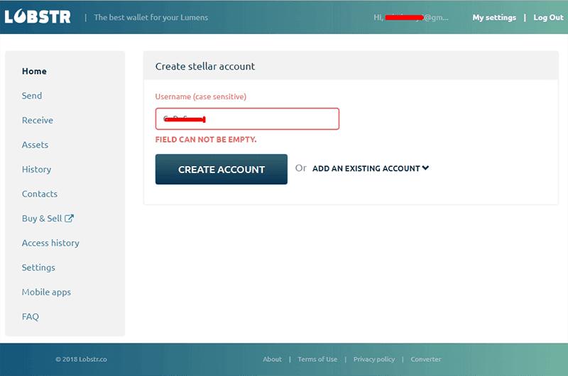 halaman form lobstr create account