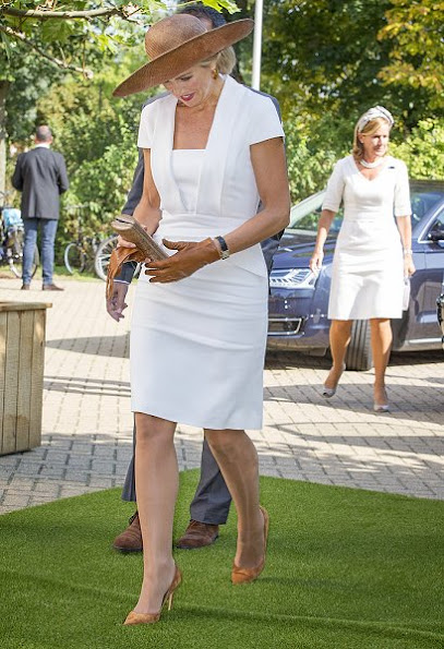 "Queen Maxima of The Netherlands attended the finals of 10th edition of the ""Postcode Lottery Green Challenge"" International competition at Westergasfabriek in Amsterdam. Queen Maxima wore GUCCI Stretch Crepe Dress"