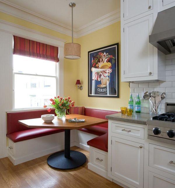 Cocina con bancos colores en casa - Bancos esquineros para cocina ...