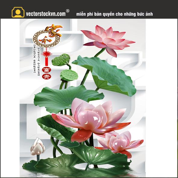 Tranh Hoa Sen 3d.