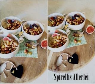 Milchreis mit karanellisierten Früchten und Nüssen