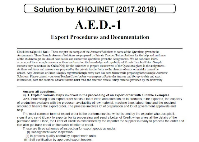 AED-01 Export Procedures and Documentation Solved Assignment For IGNOU 2017-18