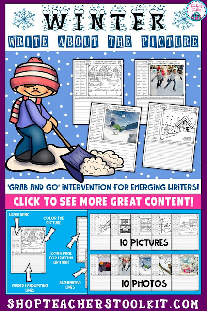 "Child shoveling snow with text ""Winter Write About The Picture"""