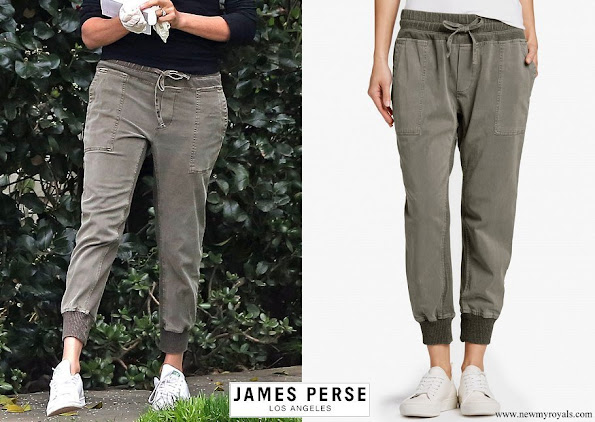 Meghan Markle wore James Perse cotton mixed media jersey pant
