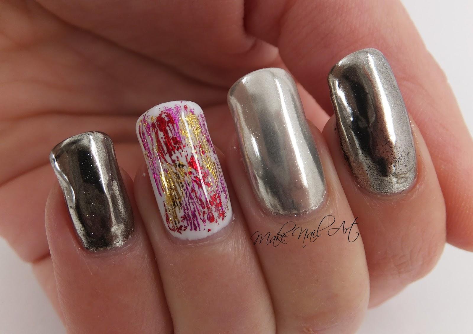 Make Nail Art: Mirror Powder And Foil Gel Polish Nails Nail Art ...