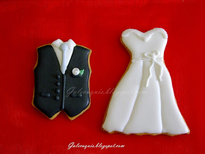 galleta vestido de novia y chaleco de novio