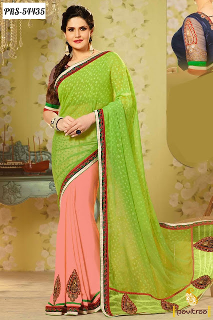 peach green color jacquard bollywood actress zarine khan special wedding wear saree online shopping