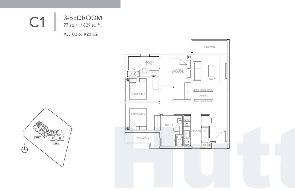 Sturdee Residences 3 bedroom floor plan