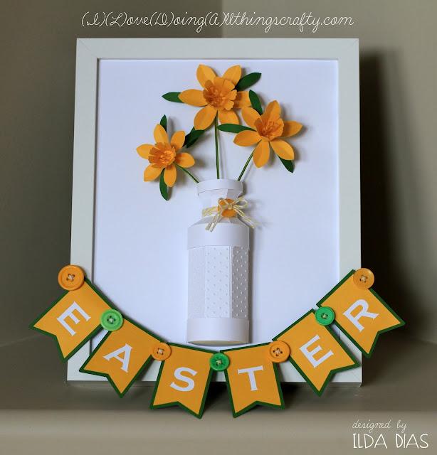3D Easter Daffodil Vase Framed Paper Art | SVGCuts