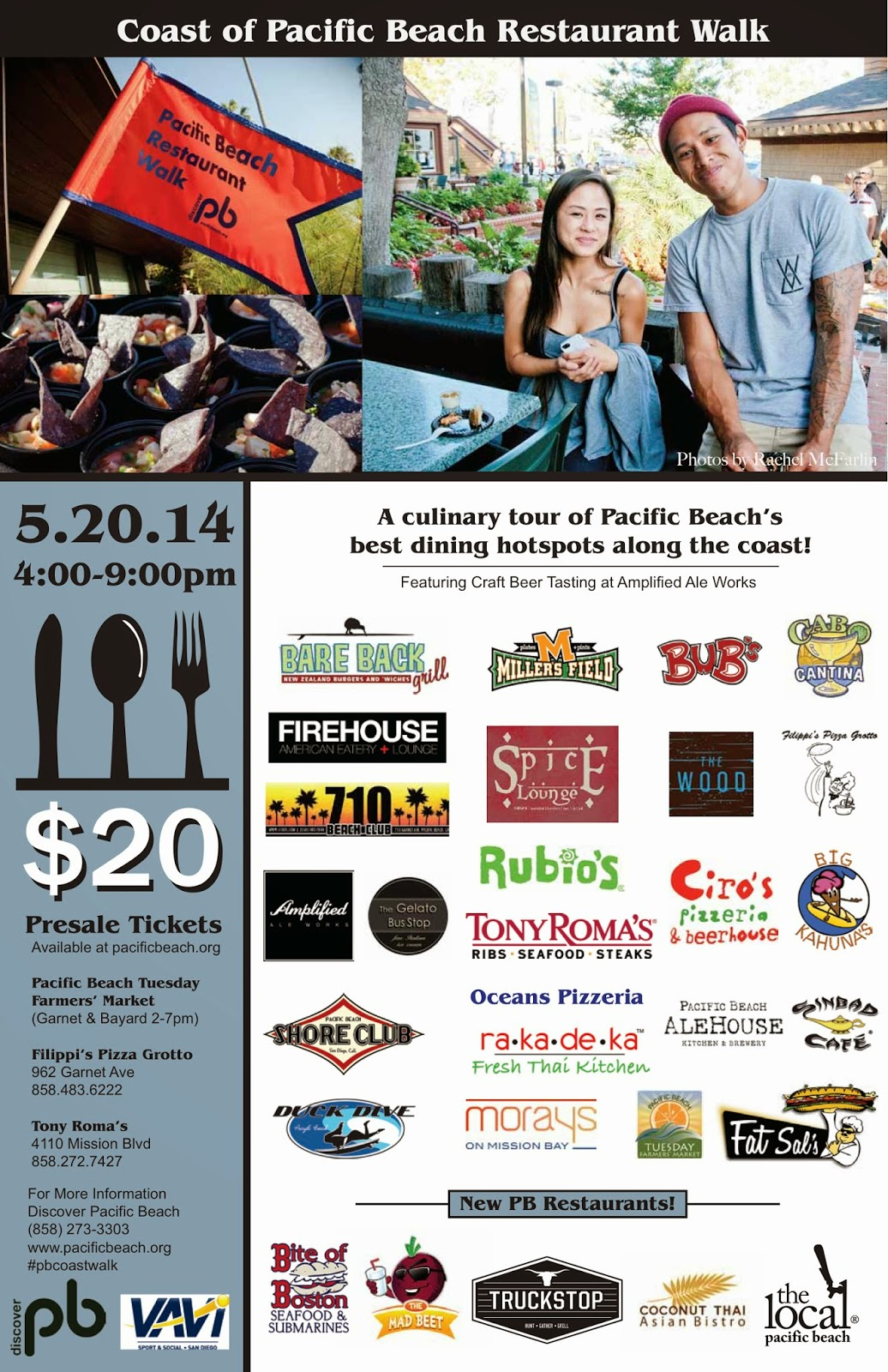 Get Your Tickets Now For The Coast Of Pacific Beach Restaurant Walk Tuesday May 20