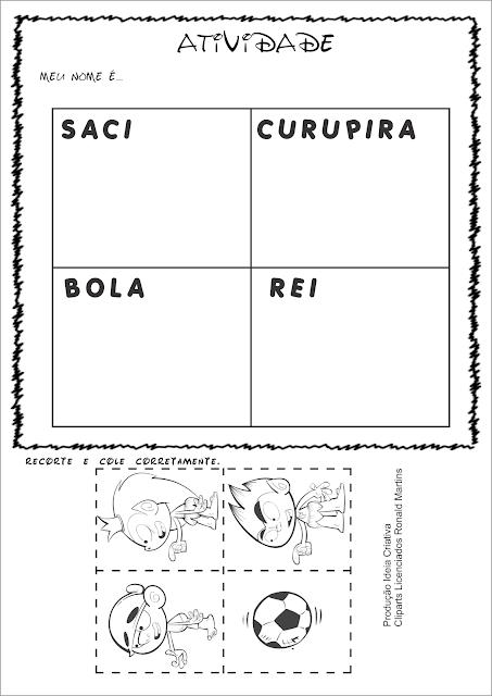 Atividade Projeto Folclore Recorte e Colagem