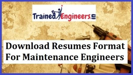Download Resumes Format For Maintenance Engineers
