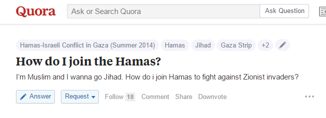 On Quora A Question How Do I Join Hamas To Do Jihad Elder Of