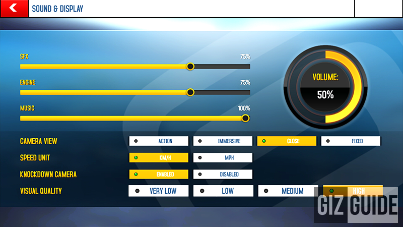 Asphalt 8 Airborne graphics settings at high!