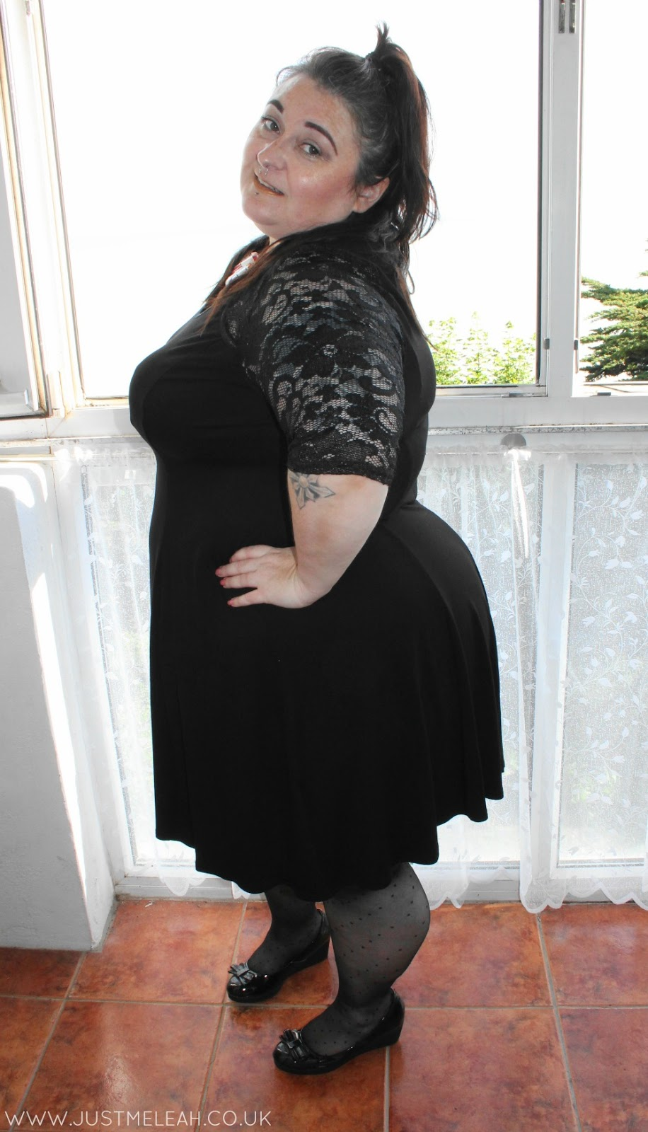 Scarlett & Jo plus size black lace dress