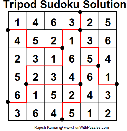Tripod Sudoku (Fun With Sudoku #12) Solution
