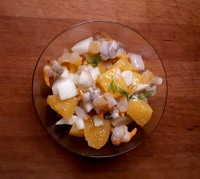 Verrines de coques ou coquillages aux agrumes, orange et fenouil
