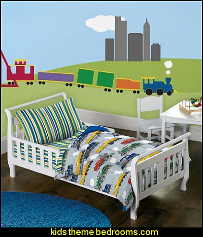 My Wonderful Walls 5-Piece Full Train Stencil Trains Bed Set by Dream Factory