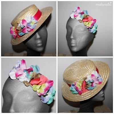Canotier fucsia con flores en colores pastel claros desmontable, diadema flores