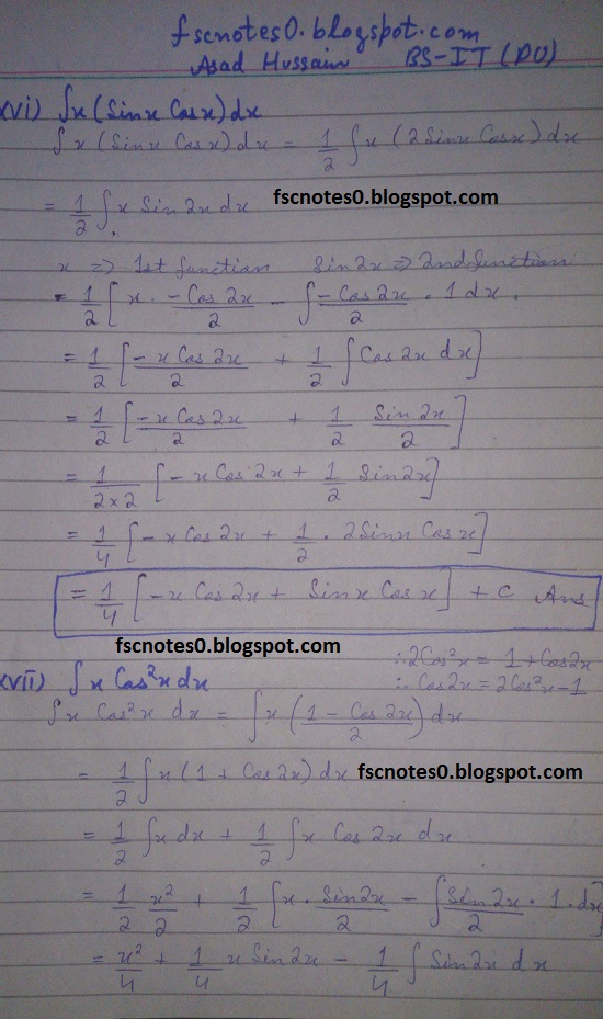 FSc ICS Notes Math Part 2 Chapter 3 Integration Exercise 3.4 Question 1 Asad Hussain 9