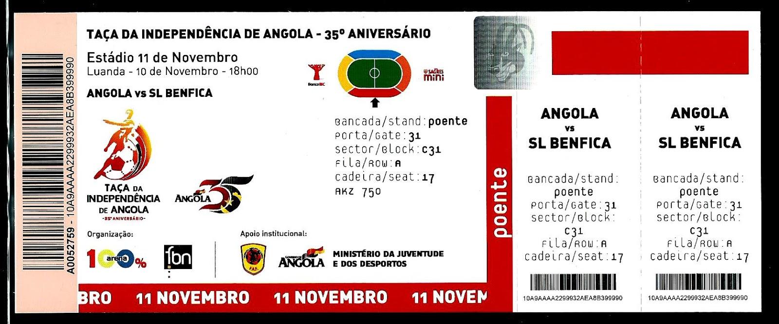 Bilhetes | Angola - Benfica