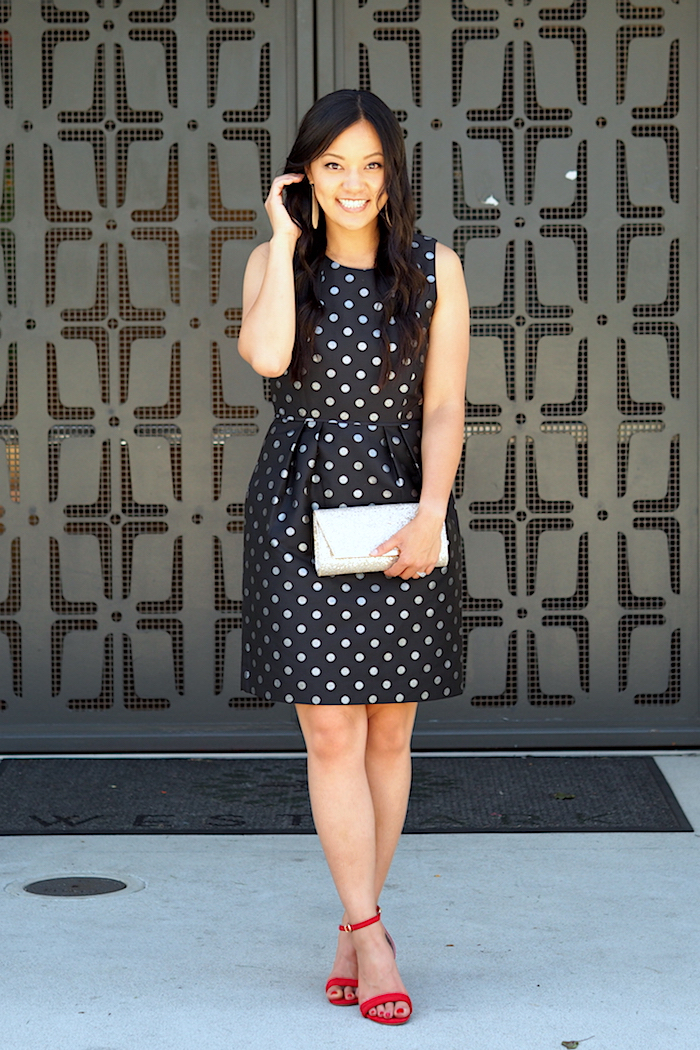 polka dot dress + colorful heels + gold accessories