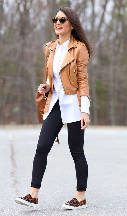 how to style a brown biker jacket : leopard slip-on + black skinnies + white shirt + bag