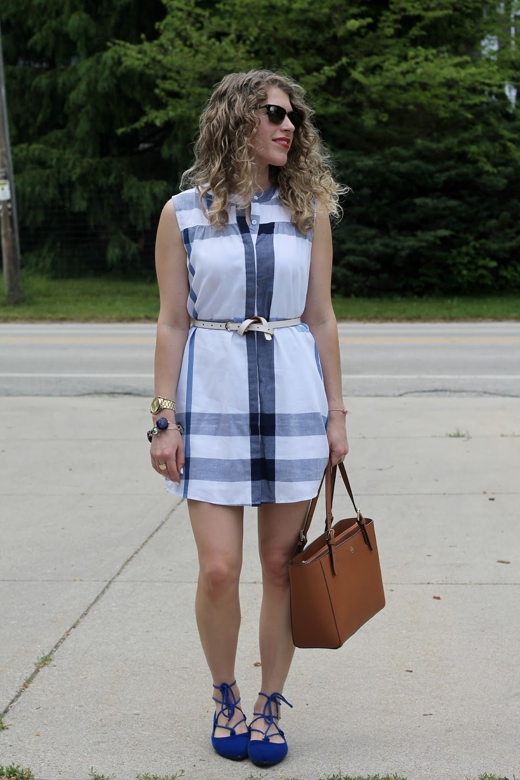 blue and white plaid shirt dress, cobalt lace up flats, Tory Burch Tote, summer plaid dress outfit