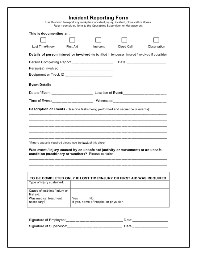 Doc595842 Report Form Template VEHICLE SERVICE REPORT Forms – Sample Incident Report Form