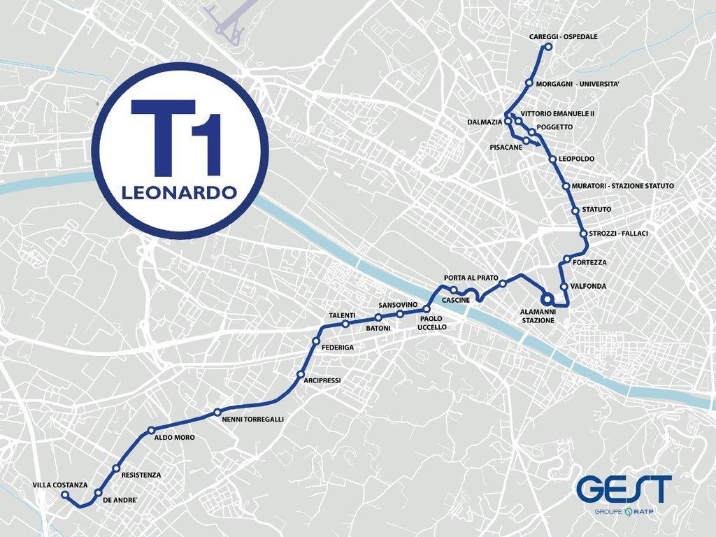 Cartina Ospedale Careggi Firenze.Firenze Nascita Di Una Tranvia Linea T1 Leonardo Mappa E