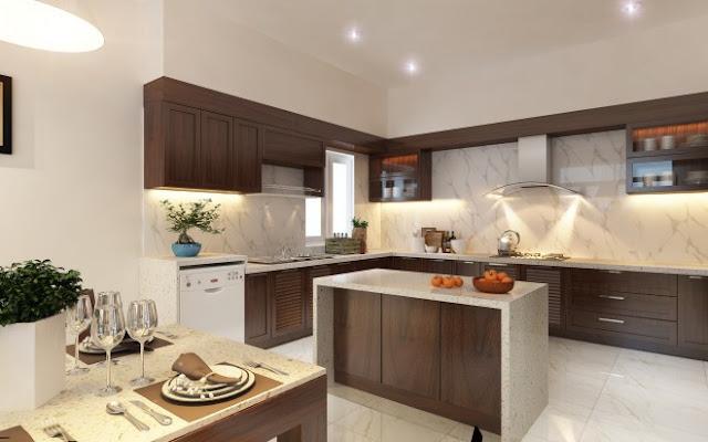 Cải tạo không gian bếp với đá hoa cương tự nhiên