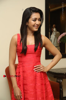 Actress Catherine Tresa Latest Pos in Red Short Dress at Intex Air Conditioners Launch  0014.jpg