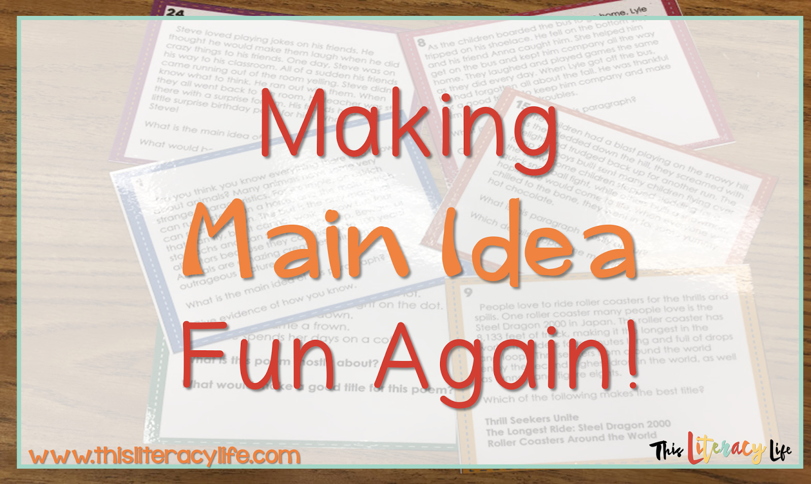 Working with main idea can get boring, but we can all make it fun for our students no matter what!