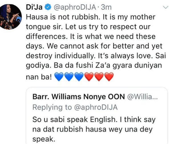 Hausa is not a rubbish language, It's my mother tongue - Dija replies fan on Twitter