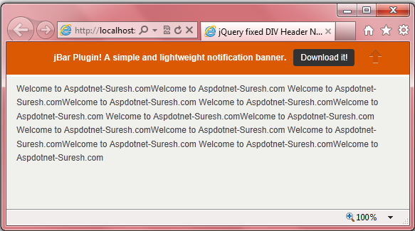 jQuery Fixed DIV Header Notification Bar on Scroll with Fade