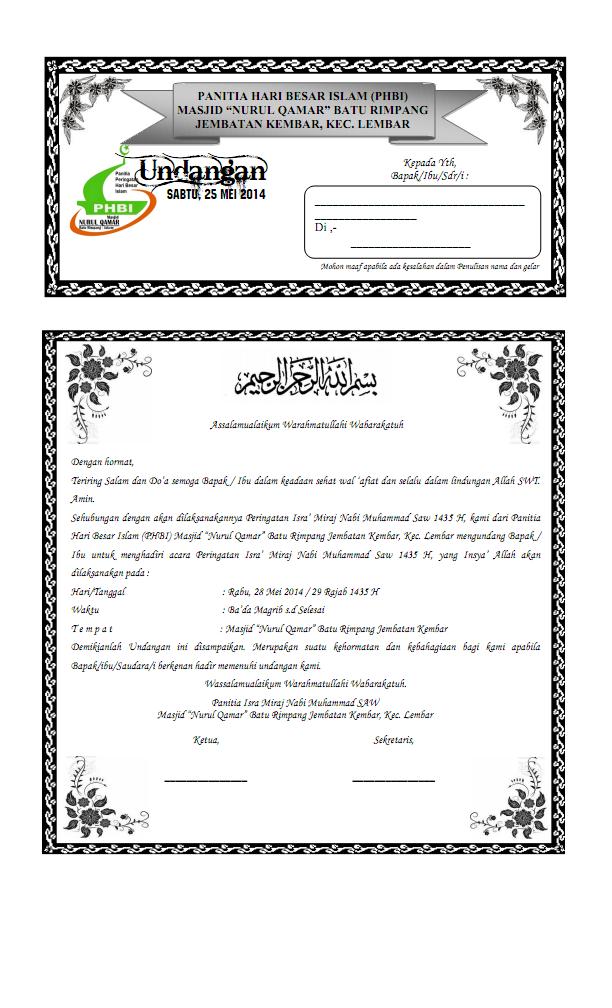 Contoh Surat Undangan Isra Mi`raj Nabi Muhammad SAW - Blog ...