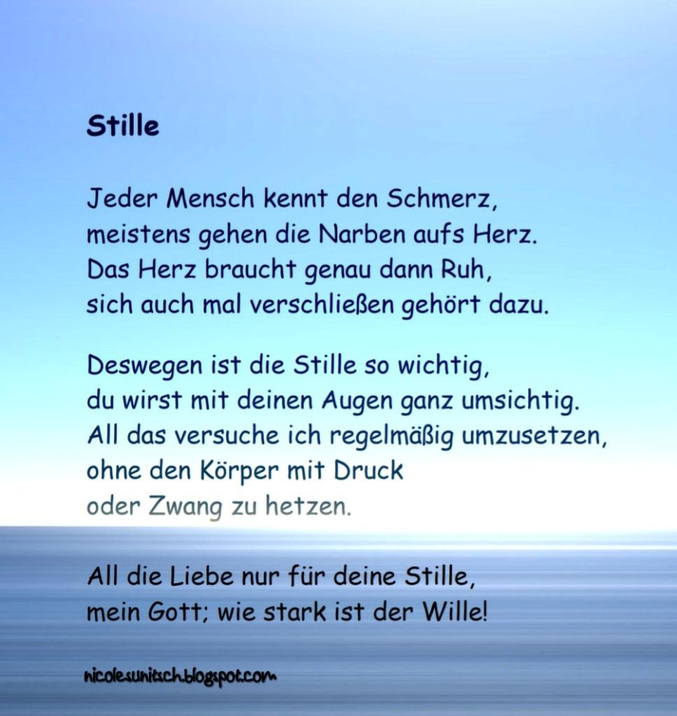 Gedichte Von Nicole Sunitsch Autorin Gedichte Stille Aus Dem