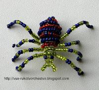 Животные из бисера паук объемный