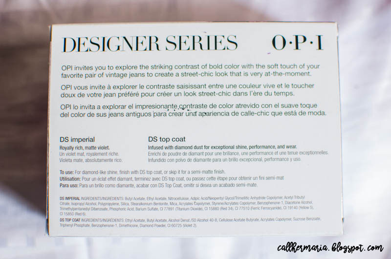 OPI Designer Series back packaging